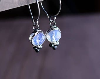 Opalite and Mystic Spinel Gemstone Earrings in Oxidized Sterling Silver
