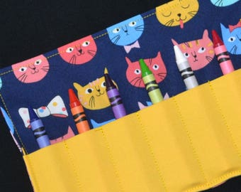 Cats Crayon Roll, birthday party favor, girls birthday, Crayon Holder, stocking stuffer, Easter gift, travel toy crayon organizer kitty cats