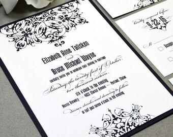 Medieval Wedding Invitation Suite - Gothic Wedding Invitations - Black and White Wedding Pocketfold with bellyband - Filigree Wedding Invite