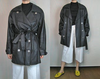 Leather Oversized Trench Coat / 80s Double Breasted Leather Coat / Black Leather Trench Coat / Belted Trench Coat