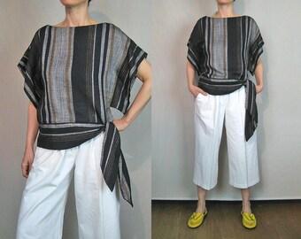 Striped Woven Sash Tie Blouse / Woven Kaftan Top / Woven Tunic Top / Black White Striped Crop Top