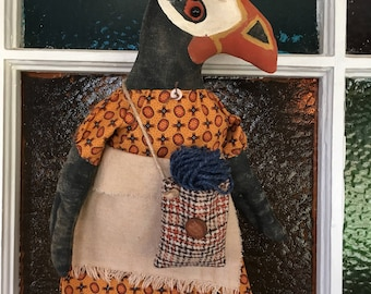 Flossie The Primitive Puffin Doll Crochet Grungy Bird Doll