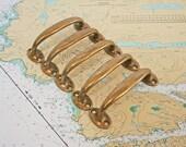 5 Vintage Brass Drawer Pulls  /  Dresser Hardware  /  Salvaged Brass Knobs  /   Repurpose or Furniture Restoration