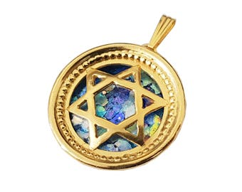 14K Yellow Gold Roman Glass Star of David Round Pendant, Magen David Pendant, 14k Yellow Gold Star of David Pendant.
