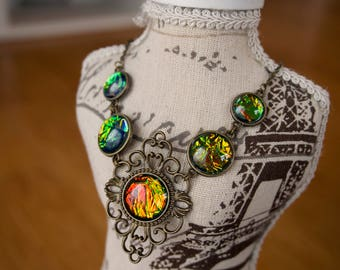Opal Look Bronze Filigree Necklace, Bib, Vintage Style Necklace Set, Dragon Scale look orange green iridescent
