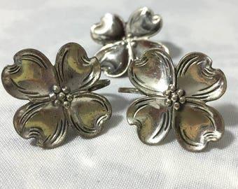 Vintage 4 Leaf Clover Earrings & Pendant Sterling Silver