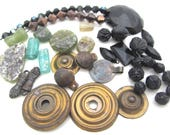 destash jewelry supplies crystal Roman glass distressed  bead caps brass bells box full