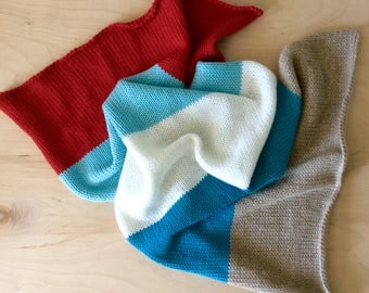 Knitted Red and Aqua Striped Alpaca Baby Blanket by Warm and Woolly