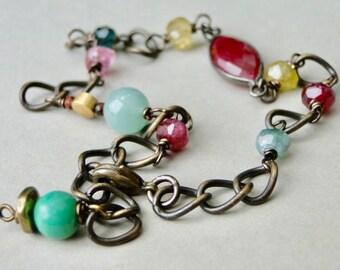 Jewelry / Gemstone Bracelet / Ruby and Tourmaline Bracelet / Gemstone Bangle / Women's Jewelry / Accessories / Summer Bracelet