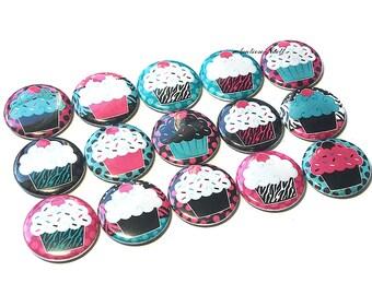 "Cupcake Sprinkle, 1"", Button, Cupcake Pin, Cupcake Flatback, Cupcake Party Favor, Cupcake Bow Center, Cupcake Gift, Pink Cupcake, Cupcake"