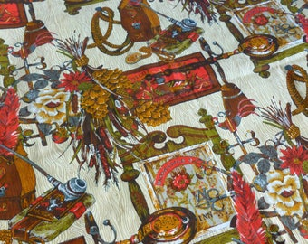 Country Inn Tavern Fabric Farmhouse Folk Kitchen Den Decor Red, Green, Gold, Brown Print Destash Yardage