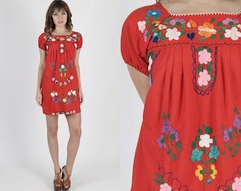 Mexican Dress Ethnic Dress Boho Dress Hippie Dress Red Dress Festival Dress Vintage 70s Dress Bright Floral Shift Mini Dress S