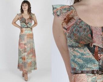 Bohemian Dress Prairie Dress Boho Dress Hippie Dress 70s Dress Vintage Dress Landscape Print Dress Festival Dress Maxi Dress S
