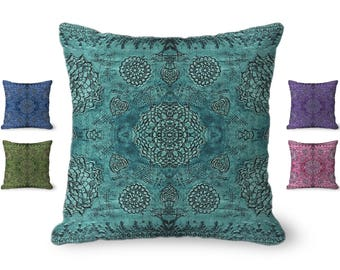 Bohemian decor, baroque Pillow Cover, boho decor, turquoise Pillow Cover, bohemian pillow cover, floral pillow cover, rustic decor