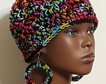 Multi-Colored Chunky Crochet Beanie Skullcap with Earrings by Razonda Lee Razondalee