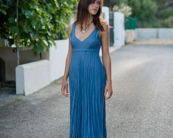 Linen Dress /Blue Summer Dress/ Denim Blue/ Maxi Dress/Long Linen Dress/Casual Beach Wedding