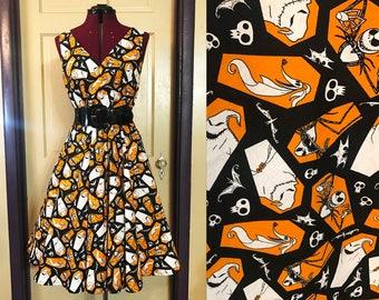 Nightmare Before Christmas dress, Jack Skellington, Oogie Boogie, orange and black, size 8-10, M/L