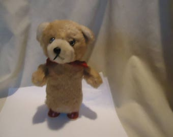 Vintage Wind-up Toy Bear With Red Ribbon & Key, UNKNOWN MAKER, collectable