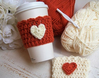 Crochet Coffee Cozy - Pumpkin Spice Heart
