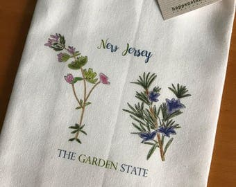 Flowering Herbs, Rosemary  and Thyme, Garden State, New Jersey, Kitchen Towel, Culinary Gift, Chef Gift, Cooking School, Foodies, Botanical