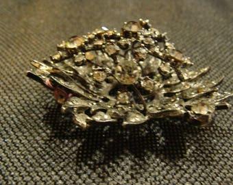 Vintage, Silver Rhinestone Brooch, three Dimensional  !