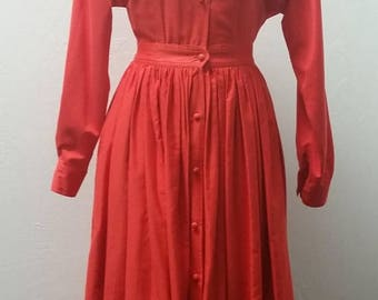 Clear Out Sale Vintage Tomato Red Isaac Mizrahi Shirt Dress, Full, Cotton, Size 4,