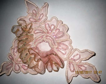 Pink applique, pink beaded and embroidered applique, Vintage applique