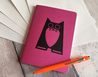 Cat Notebook - small dotted grid journal in pink featuring Maggie the cat - hand-printed, hand-stitched