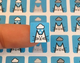 """Winter Weather cat stickers, weather organiser sticker sheet, square icon stickers 12mm / 0.5"""", 80 stickers, weather icons"""