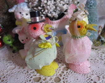 Vintage Pressed Cardboard Paper Mache Easter Candy Container-CHICKS-Man and Wife-Bride and Groom-Fancy-Japan