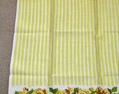 Vintage Linen Yellow Striped Yellow Roses Stamped Design Towel Made In Poland Circa 1960's NEVER USED Still Has Labels
