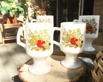 Vintage milk glass mugs, Corning Spice of life glass mugs, vintage white glass mugs with vegetable pattern