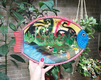 Vintage Mexican Guerrero Story Fish plate, Red Clay Pottery, Folk Art, Vintage Home Decor, Mexico