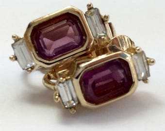 Christian Dior Amethyst And Crystal Clip On Earrings In Gold - Purple And Clear Crystal