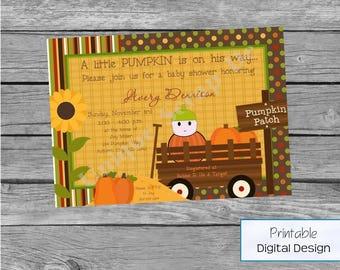 Baby PUMPKIN Shower Invitation Style DI2157 DIGITAL File - Printable