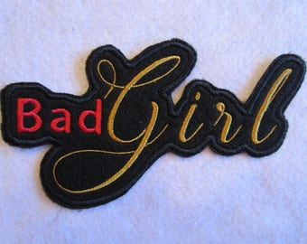 Embroidered Bad Girl Iron On Patch, Biker Patch, Iron On Patch, Motorcycle Patch,  Bad Girl Patch