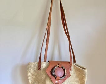 vintage sisal market bag - ZEBRA large jute woven bag