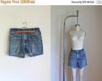 """20% off SALE vintage denim cutoffs - LEE blue faded cutoff jean shorts / M (32"""")"""