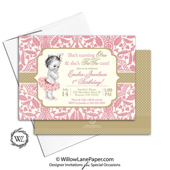 First Birthday Party Invitation Girl Tutu Invite 1st Pink And Gold Printable Or Printed