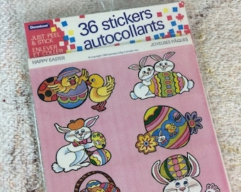 20% SALE Dennison Happy Easter Stickers 1989 Sealed Sticker Pack Unused 36 Stickers Easter Bunny Easter Eggs