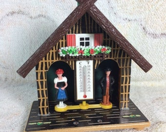 15% OFF German Weather House Plastic Thermometer Temperature Cottage Collectible