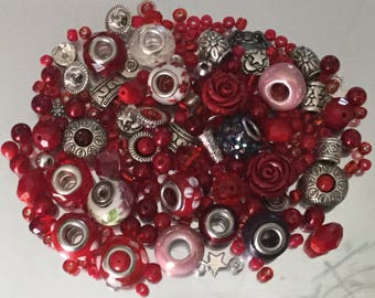 Mix Lot Loose Beads Stone Faceted Glass Acrylic Silvertone Detached Craft Supply Assorted Bulk Batch Jewelry