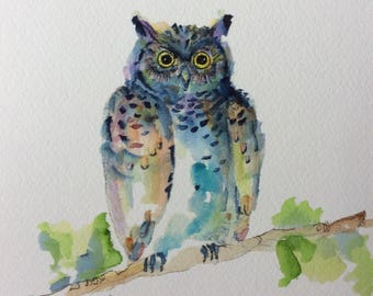"Watercolor Owl Print. 8x10"". Professionally Printed on Cotton Paper"