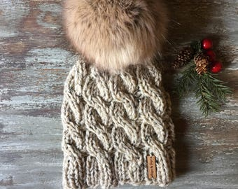 WOMEN'S Chunky Knitted Cable Hat With LARGE Faux Fur Pom Pom - Chunky Knitted Hat - Hand Knitted Cable Hats -Faux Pom Pom - Women's Hats
