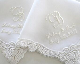 Ivory Wedding Hankerchiefs, Wedding Hankies, Names and Wedding Date Handkerchiefs, Hankerchiefs for the Bride, hankerchiefs