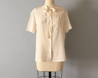 25% OFF SALE... 1940s embroidered silk blouse | delicate silk blouse with bow straps