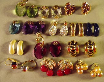 Vintage Joan Rivers Lot 7 Pairs Pierced Earrings 2 Pairs With Interchangeable Charms Parts 9293