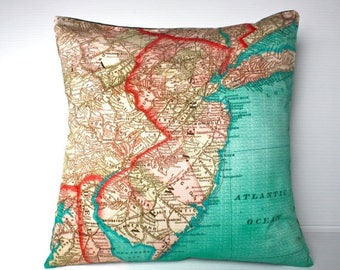 SALE SALE SALE Decorative throw pillow New Jersey map cushion Organic cotton, pillow cover, cushion, 16 x16inch 40cm