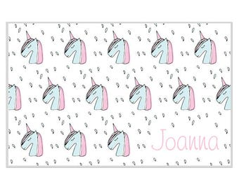 Personalized placemat Reversible unicorns custom name monogram blue pink