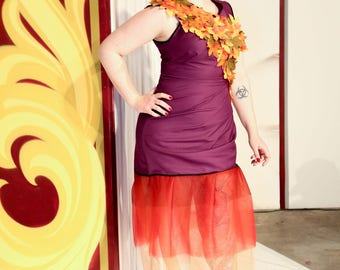 size 12: Handmade One-of-a-Kind designer Autumn Leaves Purple Asymmetrical Dress with Red Tulle Skirt